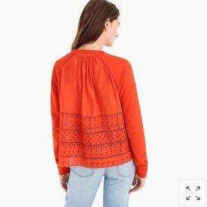 J. Crew orange eyelet back sweatshirt sz Large EUC